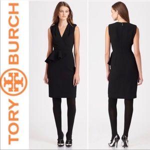 NEW Tory Burch Brooklyn black peplum dress sz 2